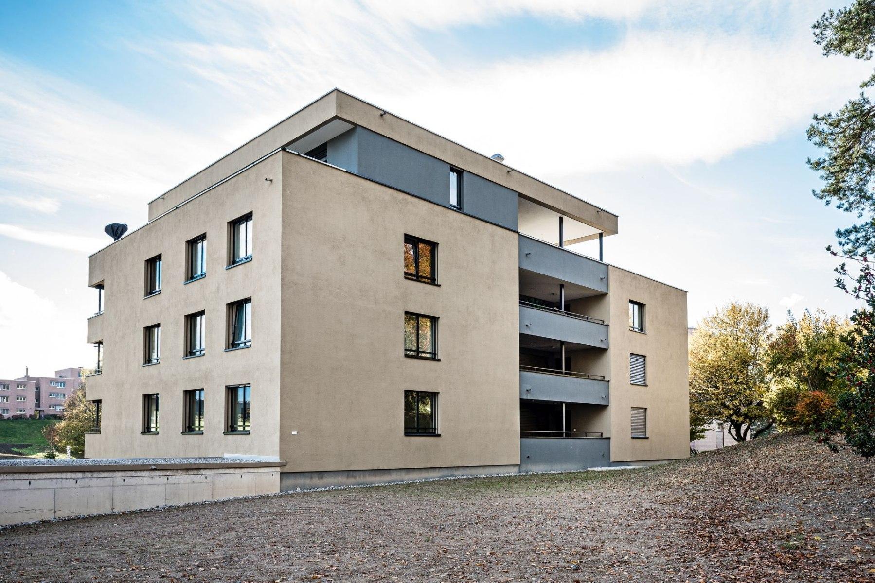 Neubau Mehrfamilienhaus Kreuzbuch Meggen Nordostfassade
